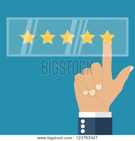 Rating vector flat design. Feedback concept. Evaluation. Rating system. Vector illustration. Rating web icon. Businessman hand making a positive review on the virtual monitor.
