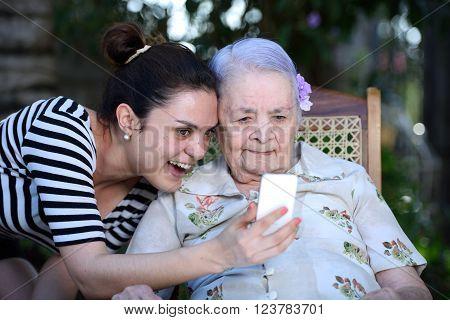 Grandma Making Selfie