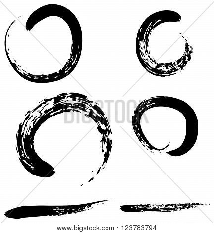 Zen brush collection with brush line for use vector illustrations