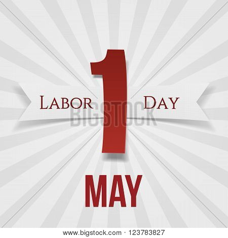 International Labor Day May 1st paper Banner with Ribbon. Vector Illustration