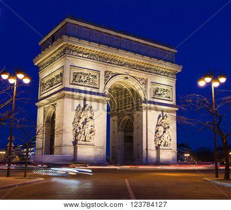 The Triumphal Arch in evening Paris France.