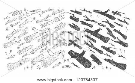 Logs. Wood. Forest. Hand drawn illustration in doodle style. Isolated