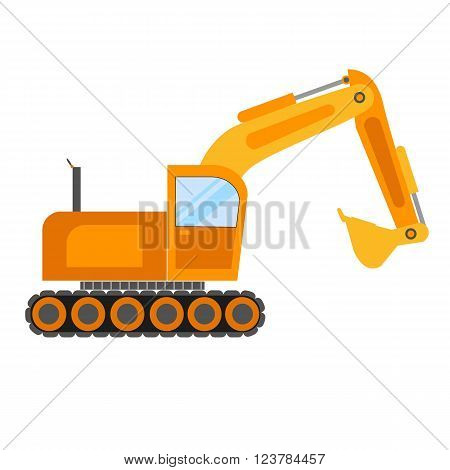 Illustration of excavator on white background.Excavator vector icon isolated.Building excavator truck vector.