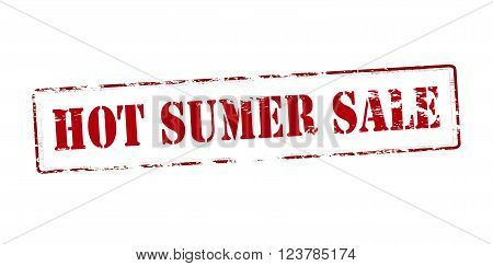 Rubber stamp with text hot summer sale inside vector illustration