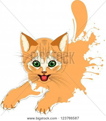 Ginger cat grunge, cheerful kitten, vector illustration