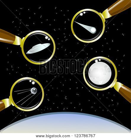 Set of space objects . EPS10 vector illustration