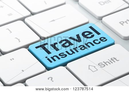 Insurance concept: Travel Insurance on computer keyboard background