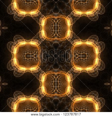 Kaleidoscopic seamless generated texture on black background