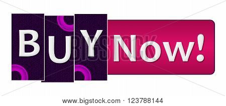 Buy now text over purple pink background.