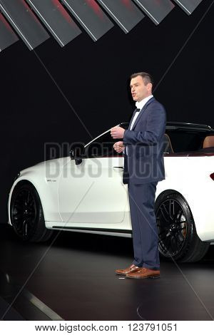 NEW YORK - March 23: Tobias Moers, chief executive officer of Mercedes-AMG GmbH, speaks during the 2016 New York International Auto Show in New York at Press day,  NY.
