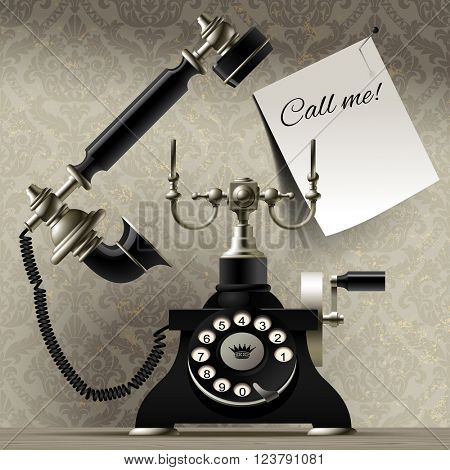 Old telephone on vintage background and a paper sheet with call me inscription. Retro greeting card. Vector illustration. Transparent elements are contained only in the image of the sheet. EPS 10
