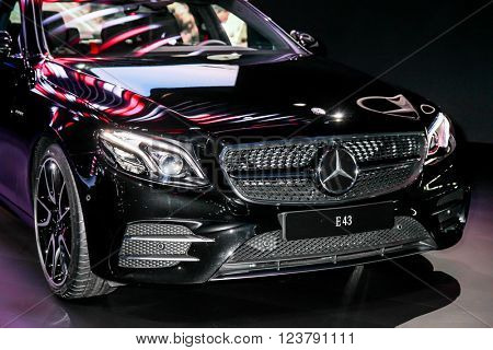 NEW YORK - March 23: A Mercedes E 43 exhibit at the 2016 New York International Auto Show during Press day,  public show is running from March 25th through April 3, 2016 in New York, NY.