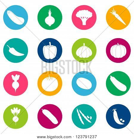 Set of vegetable icons on color background, vector illustration