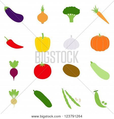 Set of color vegetables icons, vector illustration