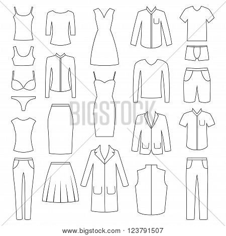 Set of woman and man clothes icons, vector illustration