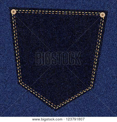Back pocket of black jeans close-up as background. Vector EPS10