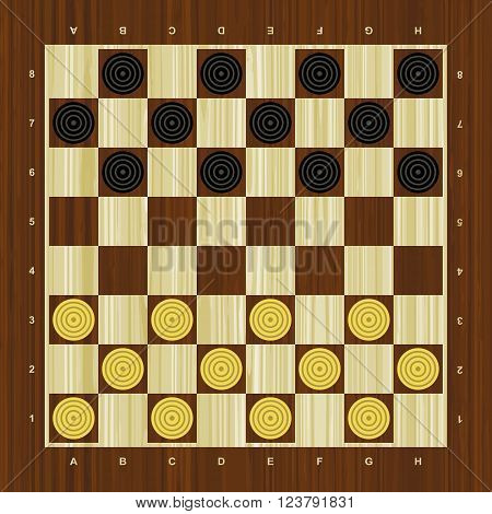 Draughts vector checker board with wooden pattern