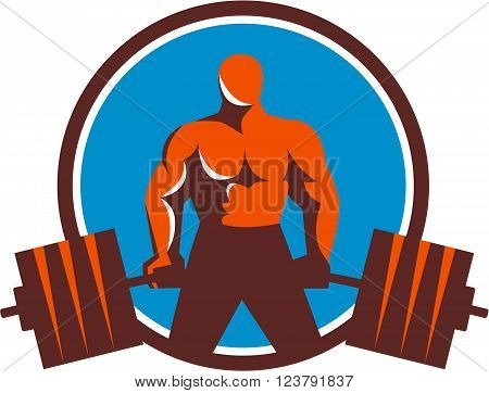 Illustration of a weightlifter lifting barbell midlift viewed from front set inside circle done in retro style.