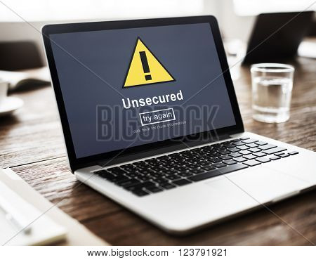 Unsecured Protection Privacy Confidential Anti virus Concept