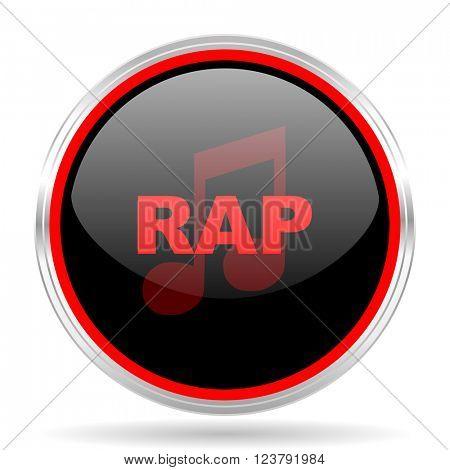 rap music black and red metallic modern web design glossy circle icon