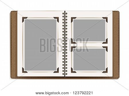 aged open photo album blank pages with retro photo frames. vector design template