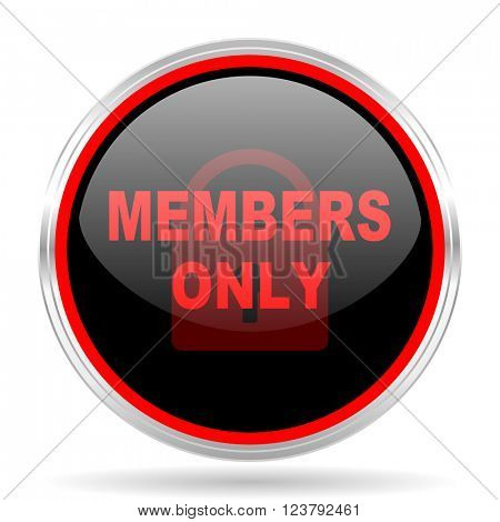 members only black and red metallic modern web design glossy circle icon