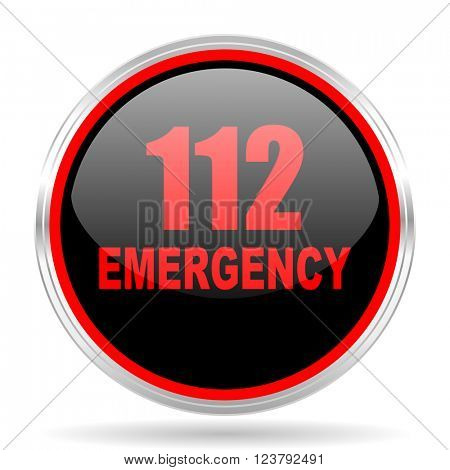 number emergency 112 black and red metallic modern web design glossy circle icon