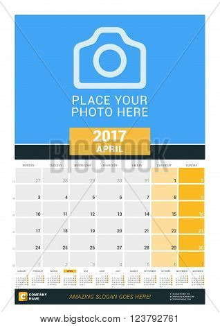 April 2017. Wall Monthly Calendar For 2017 Year. Vector Design Print Template With Place For Photo A