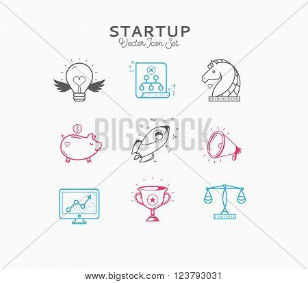 Thin line flat design of launching new business idea, rocket start for market innovation project, shuttle takeoff on a success mission. Modern vector illustration concept, isolated on white background