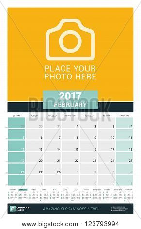 February 2017. Wall Monthly Calendar For 2017 Year. Vector Design Print Template With Place For Phot