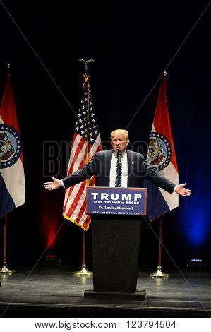 Saint Louis, MO, USA - March 11, 2016: Donald Trump talks to supporters at the Peabody Opera House in Downtown Saint Louis.