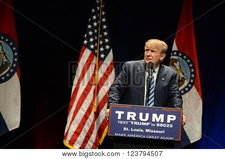 Saint Louis, MO, USA - March 11, 2016: Donald Trump reacts to heckler at the Peabody Opera House in Downtown Saint Louis.
