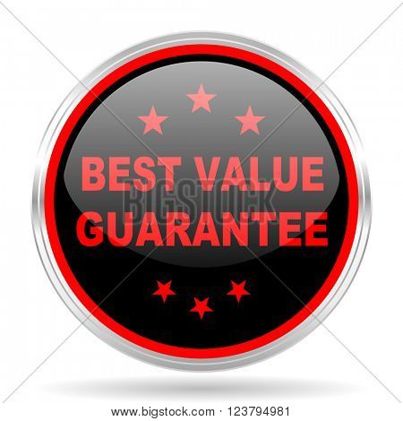 best value guarantee black and red metallic modern web design glossy circle icon