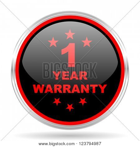 warranty guarantee 1 year black and red metallic modern web design glossy circle icon