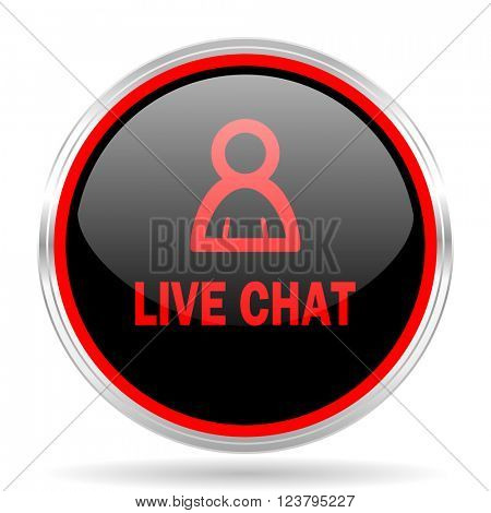 live chat black and red metallic modern web design glossy circle icon