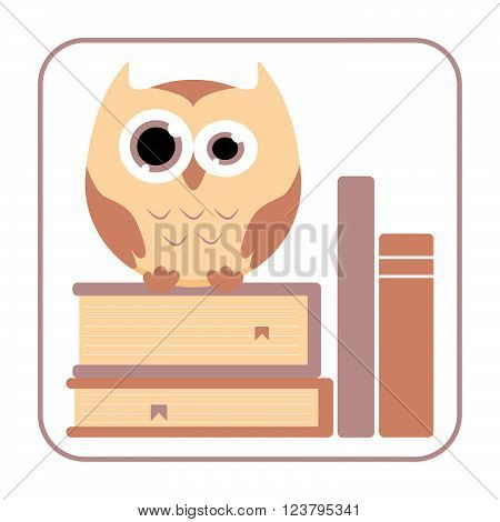Owl on the books. Cute owl sitting on the books. Cartoon owl. Owl illustration in flat style. Vector Illustration.