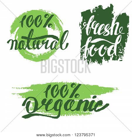 Set of bubbles stickers labels tags with text. 100% natural product 100% organic healthy food. Organic food badges in vector (cosmetic food). Fresh food.