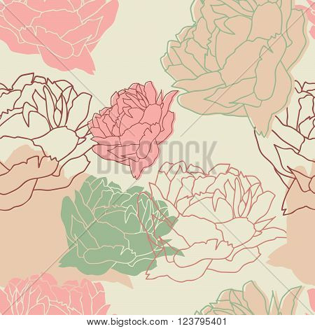 Seamless pattern with peonies. Floral wallpaper. Floral background with peonies. Beautiful floral pattern. Vector Illustration.