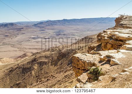 Desert landscape view from a rock at Makhtesh Ramon nature reserve in Negev desert Israel
