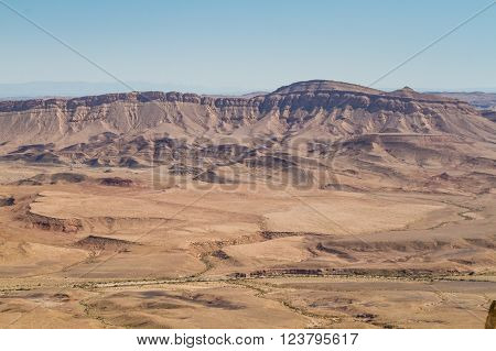 Desert landscape view from a rock at Makhtesh Ramon nature reserve in Negev desert Israel ** Note: Soft Focus at 100%, best at smaller sizes