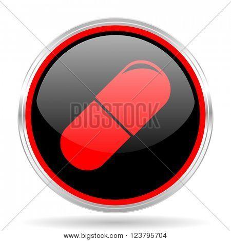 drugs black and red metallic modern web design glossy circle icon