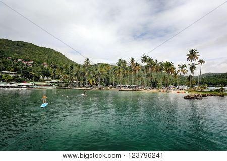 MARIGOT BAY/SAINT LUCIA - 09 JANUARY 2016: Marigot Bay is located on the west coast of the Caribbean island of St Lucia.