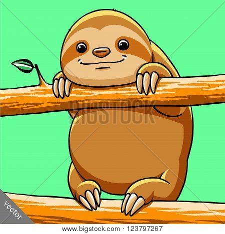 funny cartoon cute cool vector fat sloth illustration