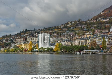 Panoramic view to Montreux and Lake Geneva, canton of Vaud, Switzerland