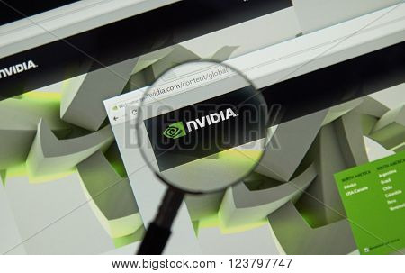 MONTREAL CANADA - MARCH 25 2016 - Nvidia internet page under magnifying glass. NVIDIA Corporation is an American technology company.