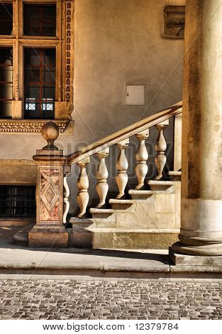 Classical Architectural Column. Royal Wawel Castle, Cracow. Poland