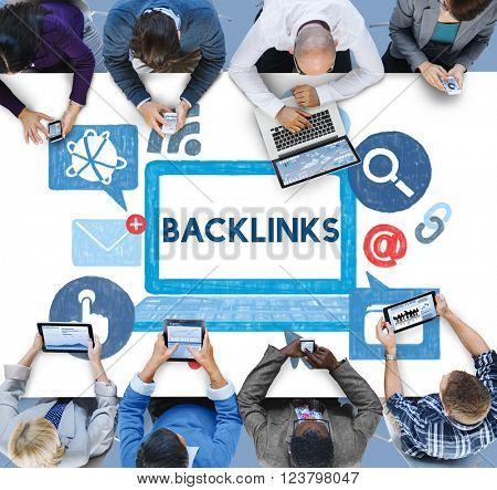 Back link Hyperlink Networking Internet Online Technology Concept