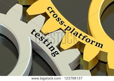 Cross-platform Testing concept on the gearwheels 3D rendering