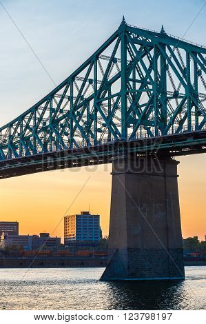 Jacques Cartier bridge at sunset in Montreal