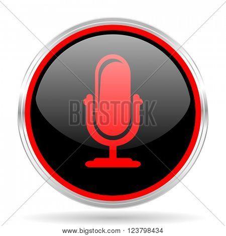 microphone black and red metallic modern web design glossy circle icon